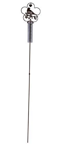 ARTECSIS 1x Gartenstecker Regenmesser Vogel aus Metall Edelrost für Balkon, Garten, Terrasse