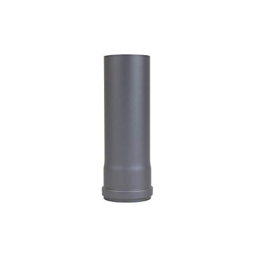 LANZZZAS pellepijp verlenging 250 mm, diameter DN Ø 80 mm, in zwart metallic en gietijzeren grijs, pellebuis, kachelpijp, rookpijp verlenging, voor uw pelletkachel modern gietijzer.