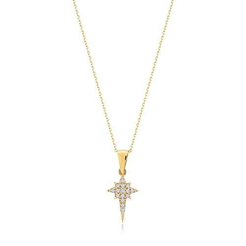 Gelin Damen Gold Kette aus 14 Karat - 585 Echt Halskette Gelbgold mit anhänger Nordstern Polstern - Kette 45cm