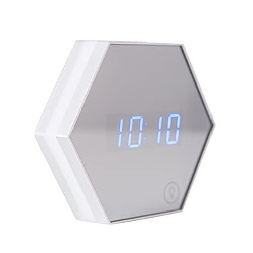 GDYJP Decoración Reloj Digital, Reloj de Colgando de Pared, DIRIGIÓ Pantalla de Temperatura Digital, Inicio Snooze Carga electrónica Espejo Noche luz Inteligente Alarma (Color : White)