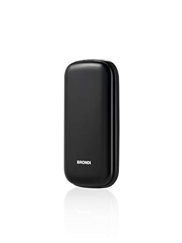 Brondi Stone - Cellulare con apertura a conchiglia, Dual Sim, 128x160 pixel, Display 2.4 pollici, Nero