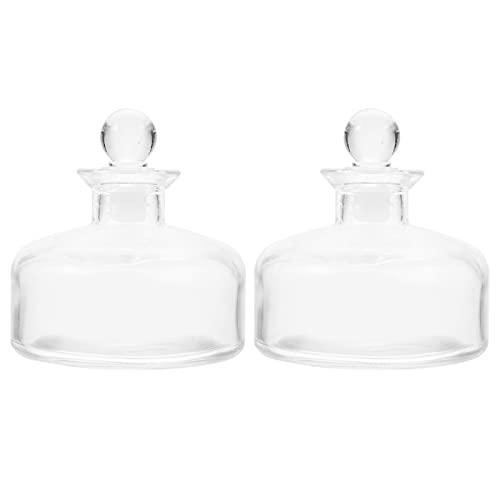 EXCEART 2 Pièces Diffuseur en Verre Bouteilles Vide Rechargeable Diffuseur Bouteilles Aromathérapie Huile Essentielle Diffuseur Pots Parfum Conteneurs