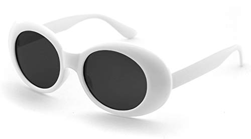 Authentic Clout Goggles Bold Oval Retro Mod Kurt Cobain Sunglasses Clout Round Lens (White Clout 1 Pack)