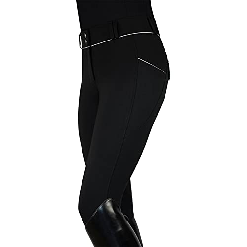Women's Horse Riding Pants Equestrian Breeches Tights Belt Loops Pockets Knee-Patch Active Legging