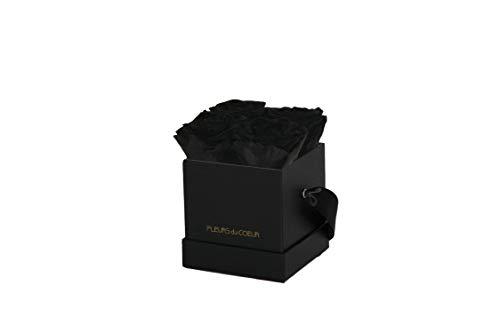 FLEURS du COEUR • Rosenbox Square 4 (Schwarz) - 4 Infinity Rosen (Schwarz) | Flowerbox mit konservierten Rosen verschenken • Blumen von Herzen