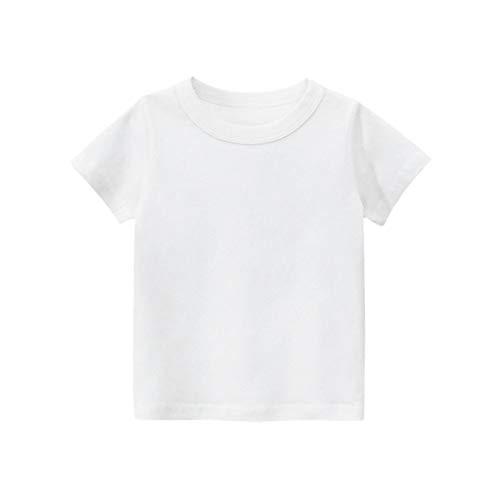 DCUTERQ bebé niños niñas básico Acogedor algodón Camisetas Tops Unisex niños Manga Corta Cuello Redondo Verano Camisetas Amarillento 3-4 años