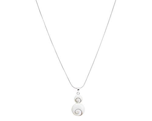 Vurmashop Collar Plata de Ley 925 - Ojo de Shiva - Piedra de Santa Lucía - Cadena Concha Natural para Mujer - Joyería Hecha a Mano