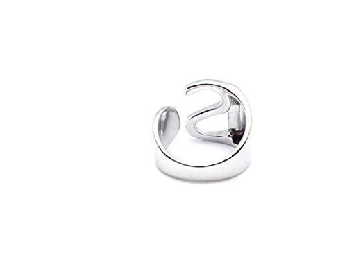 Anillo con letra inicial abierta, ajustable, para hombre y mujer,