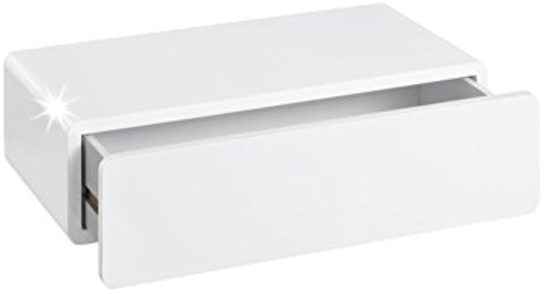 REGALRAUM Wandregal mit Schublade  Cassy  51x27x14 cm - Wei Hochglanz