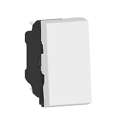 Legrand 538320 Pulsador empotrable Simple Blanco – Gama Mosaic Easy 6 A – Centraliza la iluminación – Botón Puede Convertirse Luminoso o indicador añadiendo luz LED