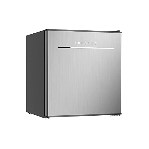 Mini Fridge with Freezer. 1.7 Cu.Ft Small Refrigerator, 6 Adjustable Thermostat Control, One-Touch Defrost, Reversible Doors Design, Dorm/Office/Home Refrigerator, Stainless Steel