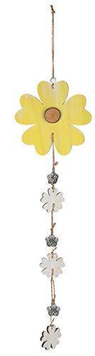 dekojohnson Fensterhänger Holz-Hänger-Blume Fensterdekoration Sonnenblume Blüten-Girlande gelb Silber 15x1x62cm Frühjahr-Girlande Landhausstil