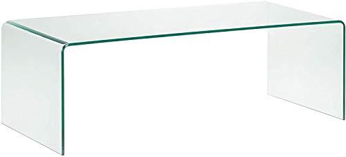 Arreditaly Tavolino Basso da Salotto Salone caffè Rettangolare in Vetro Temperato e Curvato Luxury Z-24 - Design Curvo Moderno Ed Elegante 110 x 35 x 55 Cm