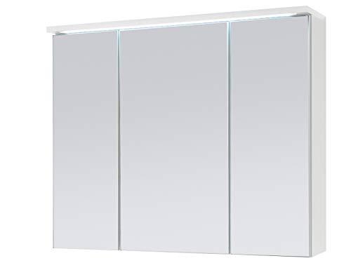 Spiegelschrank Badschrank Spiegel Badhängeschrank Badmöbel Kirkja I Weiß/Weiß 80 cm