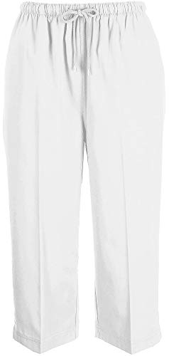 Coral Bay Womens Drawstring Twill Capris Small White
