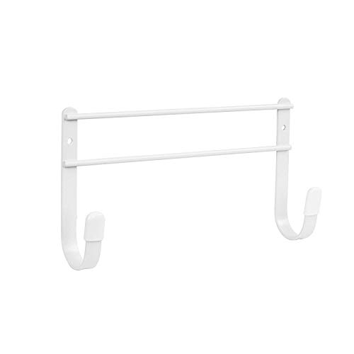Spectrum Diversified Wall-Mounted Holder Sturdy Steel Construction With Rubberized Hook Ends, Closet Organizer for Ironing Board Storage, Tube Brush, White