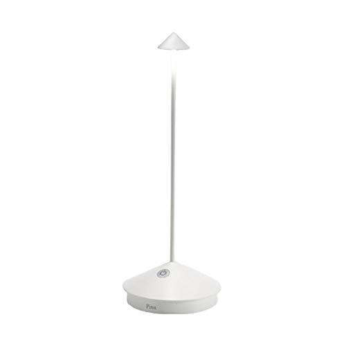 Zafferano - Pina Pro Lampada LED Dimmerabile da tavolo in alluminio, Protezione IP54, Uso Interno/Esterno, Base di ricarica a contatto, H29cm, Plug EU - Bianca