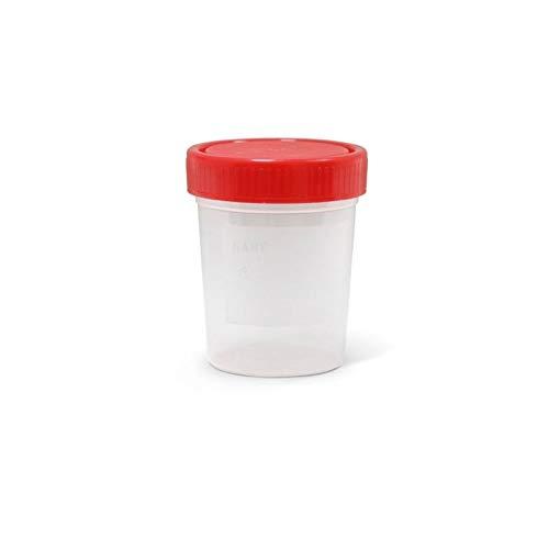 INSPROVET Bote de Recogida para Muestras de Polipropileno Estéril con Tapón Rojo y 100 ml de Capaciad (1 Unidad)