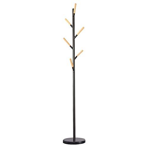 Kapstok Stand Hanger Parapluhouder Free Standing Metaal Met 6 Oak Haken, for de woonkamer, slaapkamer, Office (Kleur: Zwart) LQH (Color : Black)