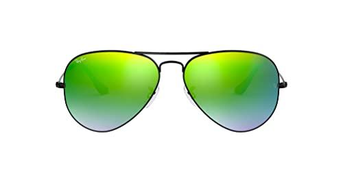 Ray Ban Unisex Sonnenbrille RB3025, Gr. Large (Herstellergröße: 58), Schwarz (Gestell: schwarz, Gläser: gespiegelt grün verlauf)