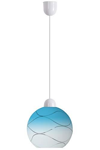 Lámpara colgante Wave de cristal soplado a mano, diseño ondulado, color azul