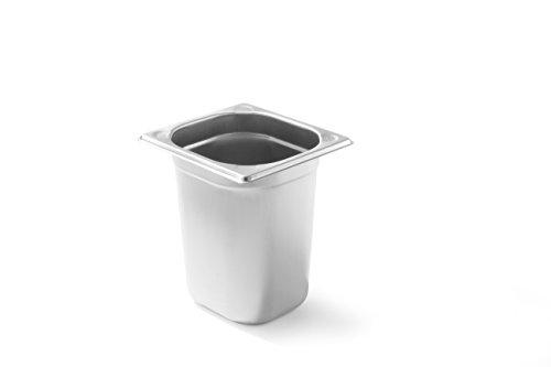HENDI Gastronormbehälter, Temperaturbeständig von -40° bis 300°C, Heissluftöfen-Kühl- und Tiefkühlschränken-Chafing Dishes-Bain Marie, Stapelbar, 3,2L, GN 1/6, 176x162x(H)200mm, Edelstahl