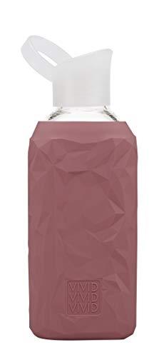 BEVIVID Botella de agua Botella de cristal con funda de silicona sin BPA – 500 ml & 850 ml – Diseño Crushed (Heroine, 850 ml)