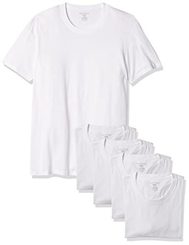 Nautica Men's Cotton Crew Neck Polo-Shirts-Multi Packs, White-5 Pack, S