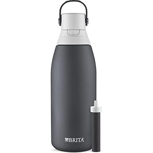 Brita Botella de filtro de agua de acero inoxidable, 32 onzas, carbono