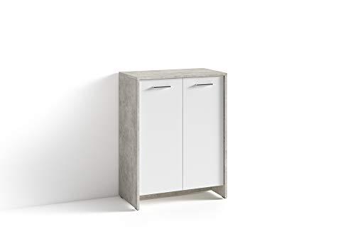 HOMEXPERTS Schuhschrank BENNO / Schuhkommode in grau und weiß / Korpus in Beton-Optik / Front weiß / kleine Flur-Kommode mit zwei Türen Einlegeböden / Sideboard klein / 63 x 83 x 35 cm (BxHxT)