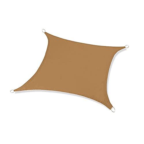BBVS 2 * 3m Vela de Sombra Rectangular Impermeable, toldo Exterior, toldo Anti-Ultravioleta, 98% de Bloque UV con Cuerda Libre (Caqui)
