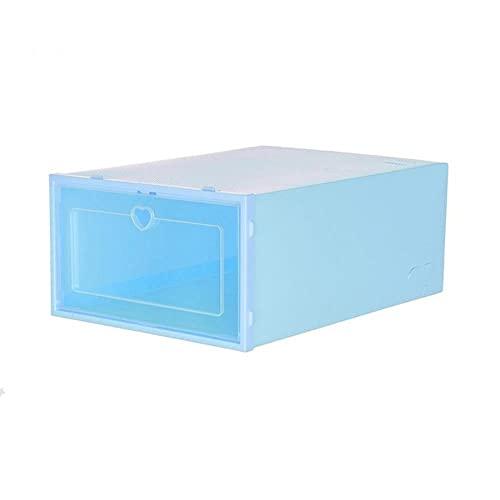 Caja de almacenamiento de zapatos transparente plegable Caja de almacenamiento de zapatos de zapatos apilables de plástico color caramelo-S, Azul, Corea