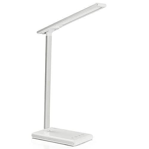 Lámpara Escritorio LED, La lamparas de escritorio tiene cuentas de lámpara 60LED, 5 niveles de brillo, 3 modos de colo, USB para cargar, Batería 4000mAh, Temporizador de 45min, [Clase energética A++]