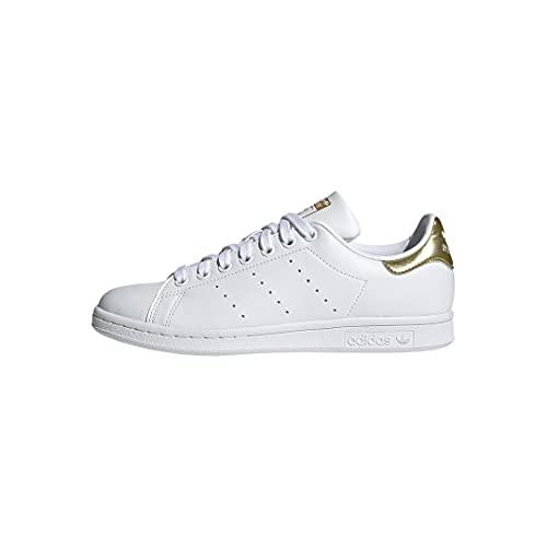 adidas Originals Women's Stan Smith (End Plastic Waste) Sneaker, White/White/Gold Metallic, 5