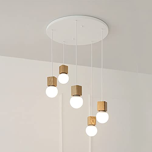 Asvert Lampe Suspension en Bois Nordique Suspension Luminaire Rétro E27 Lampe Pendante Moderne Lumière Suspendue 5 Tête Réglable 1.2m pour Décoration DIY Restaurant Chambre Cuisine Bar Loft Salon