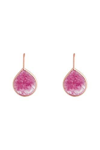 Córdoba Jewels   Pendientes en plata de ley 925 bañados en oro rosa con piedra semipreciosa con diseño Luxury Mini Gota Frambuesa Rose Gold