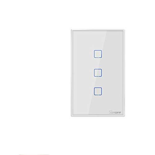 Sonoff T2 T3 US TX Smart Wifi Touch Interruptor de pared con borde Smart Home 1/2/3 Gang 433 Control RF/Voice/APP funciona con Alexa (Blanco TX-T2-2C)