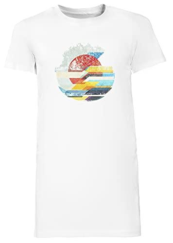 Digital Dom Horizonte Largo Camiseta Vestir Mujer Blanco Women's Long tee Dress White