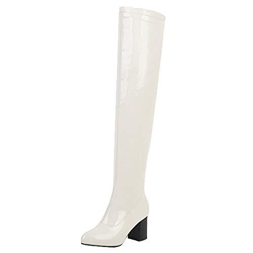 MISSUIT Damen Lack Overknee Stiefel High Heels Blockabsatz Boots Reißverschluss Chunky Heel Langschaftstiefel Winter Schuhe(Weiß,41)