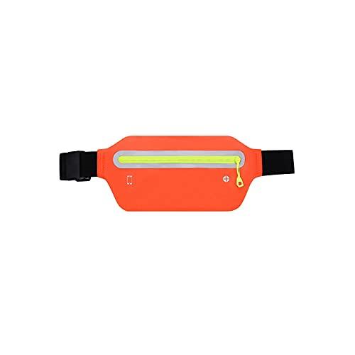Haoooanyb Riñonera Running, Bolsa de Cintura Deportiva al Aire Libre, Correr Impermeable y Reflectante, múltiples Funcional Accesorios de Cintura de Aptitud Ultra Delgada. (Color : Orange)