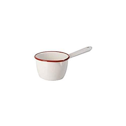 IBILI Cazo con caño 10 cm de Acero esmaltado en Blanco/Rojo, 20 x 10 x 10 cm