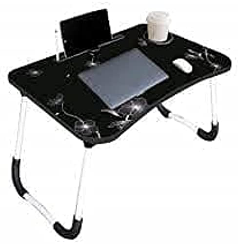 Infinity Zone Presents Wooden Multipurpose Laptop Foldable Table for Office Use Study Use Home Use in Routine Life Black White Flowers Printed Beautiful Design