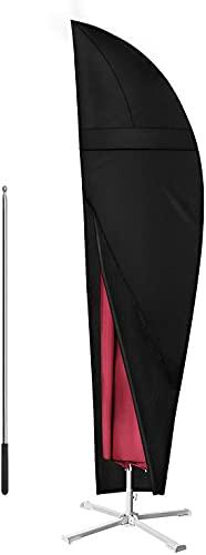 Dokon Verbessert Ampelschirm Schutzhülle mit Belüftungsöffnungen, Stilvoll Abdeckung für Sonnenschirm bis 400cm Ø, Wetterfeste, UV-Beständiges, 600D Oxford Ampelschirm Hülle mit Stab (265x40/70/50cm)