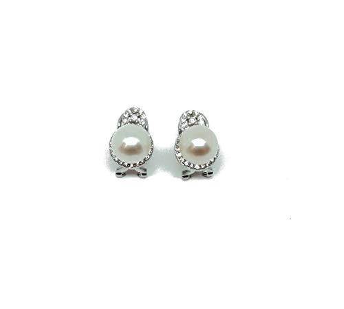 Pendientes de plata 925 fantasía con circonitas y perlas, cierre omega (AMFO0259)