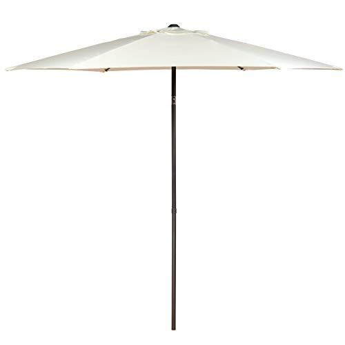 SUNMER 2.5M Round Garden Parasol Sun Shade Patio Outdoor Umbrella Canopy With Tilt Mechanism | Ivory