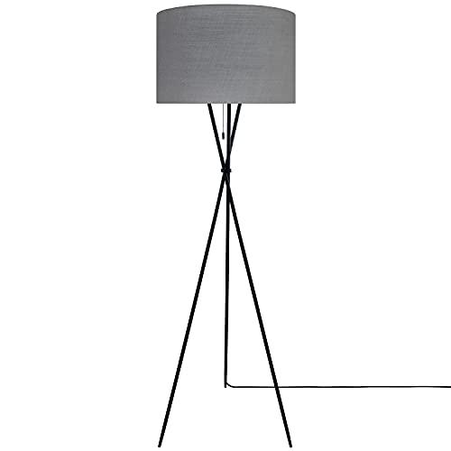 Paco Home Luminaria Pie Moderna Salón Trípode 157cm Marco Filigranas 2,5m Cable Textil Interruptor Cadena Cable E27, Base de la lámpara:De tres patas negro, Pantalla de lámpara:Gris (Ø45.5 cm)