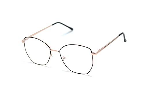 Armação Para Óculos Gatinho Metal Feminino Dx-038 Cor: Preto-Dourado