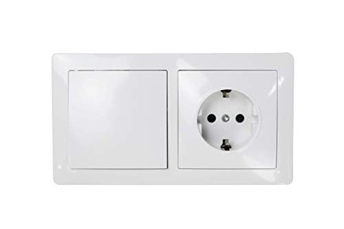 Interruptor doble con base schuko color blanco 10AX,16A,250V. (1INTERRUPTOR+1 ENCHUFE)