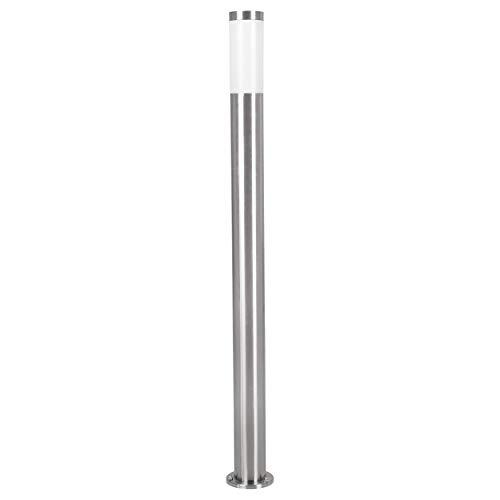 EGLO LED Außen-Wegelampe Helsinki 1, 1 flammige Außenleuchte, Wegeleuchte aus Edelstahl und Kunststoff, Farbe: Silber, weiß, Fassung: E27, IP44