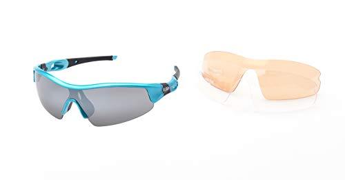 Ravs Gafas de ciclismo para carreras, ciclismo, ciclismo, deportivas, gravelbike (azul claro y naranja, con cristales intercambiables)